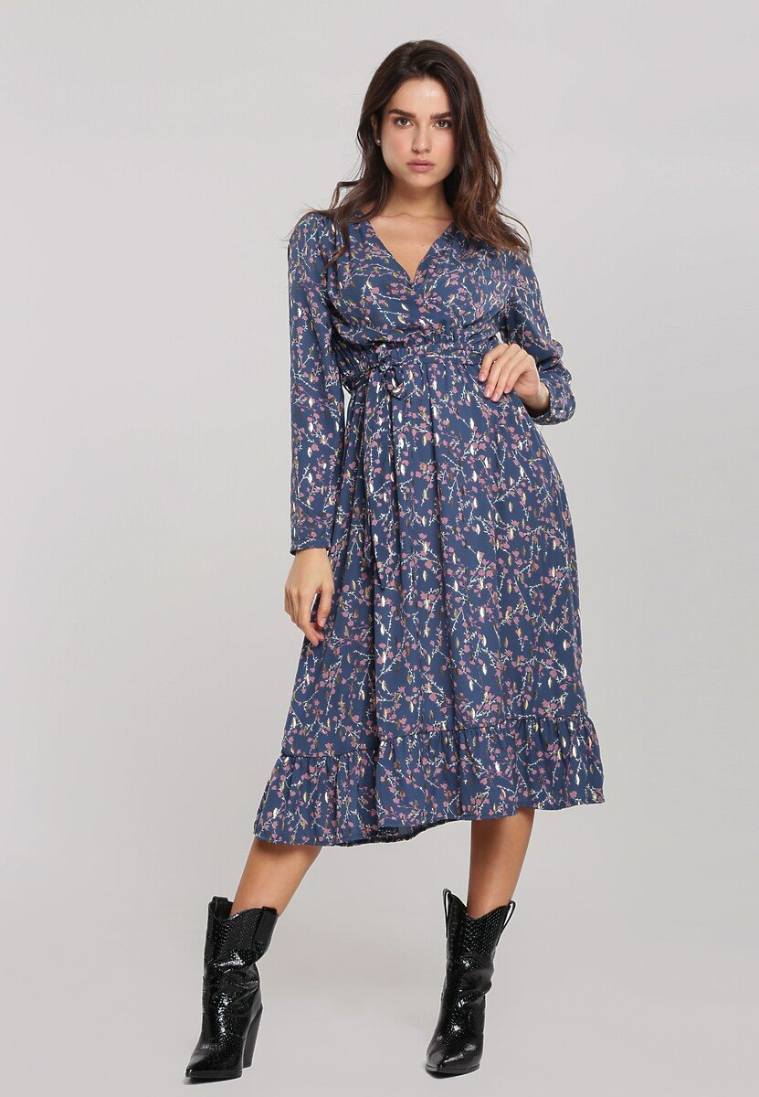 Niebieska Sukienka Cordeaux