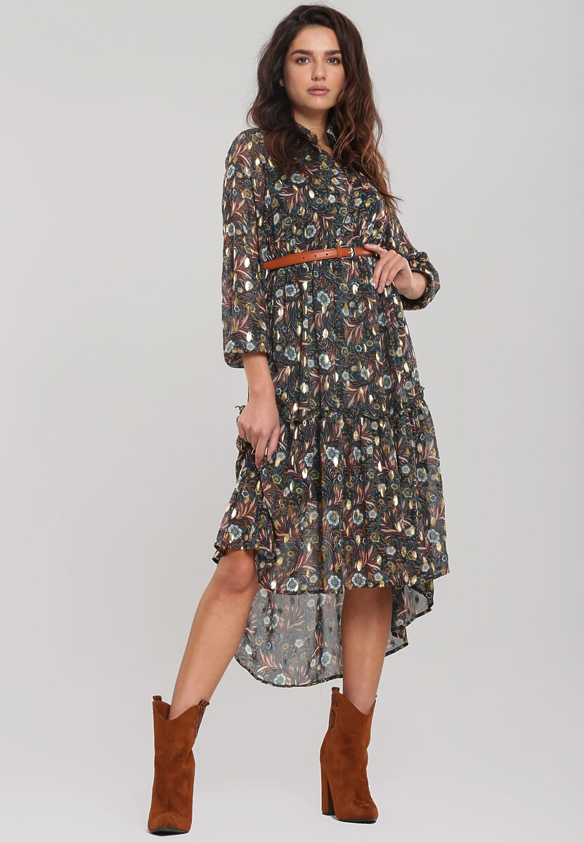 Ciemnozielona Sukienka Treewarm