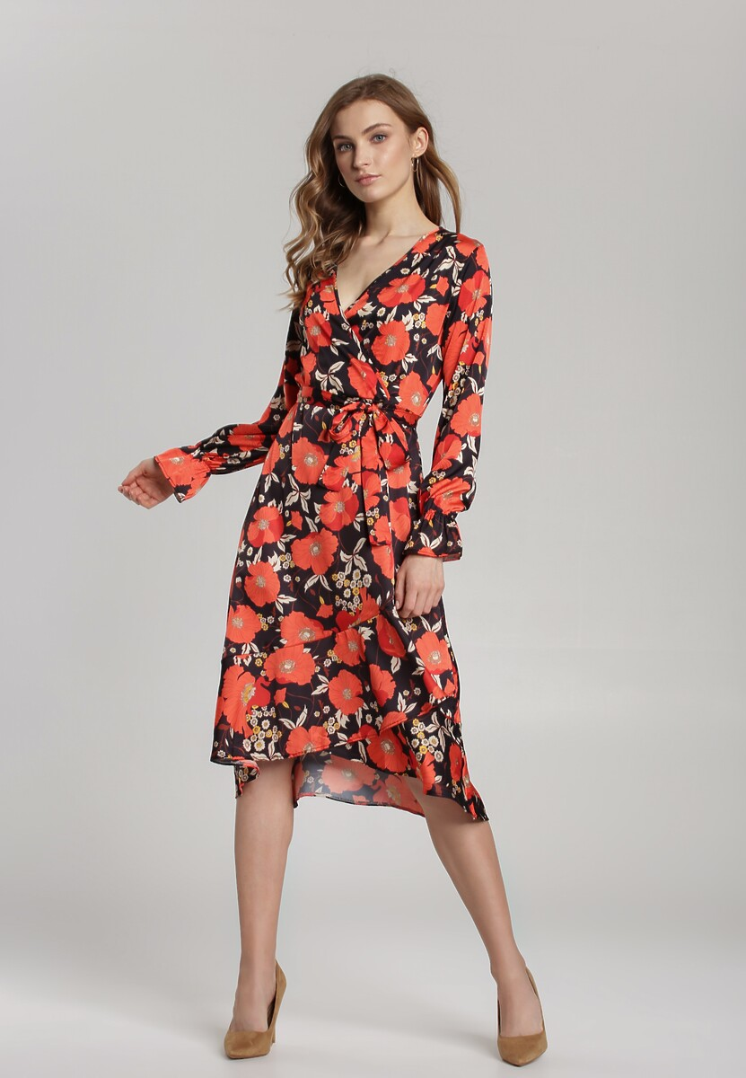 Czarno-Czerwona Sukienka Zaamlam