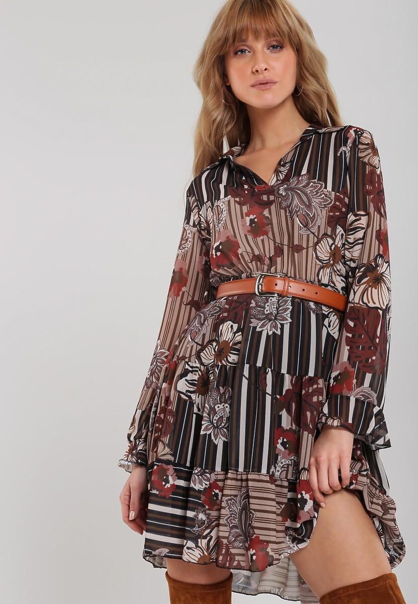 Brązowa Sukienka Traci