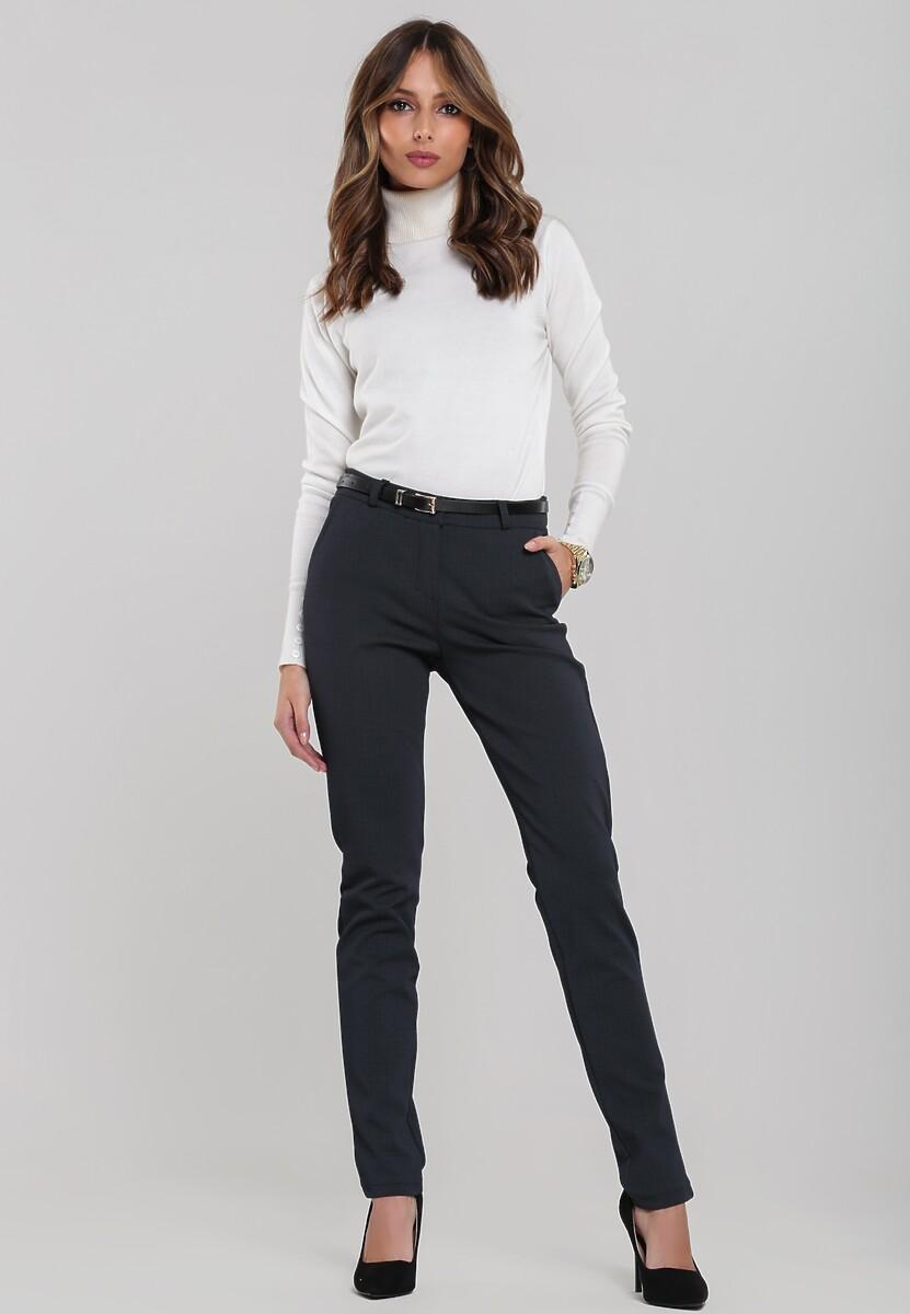 Granatowe Spodnie Poole
