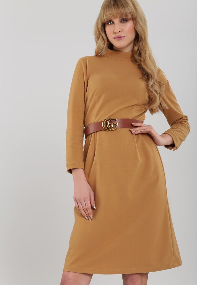 Beżowa Sukienka Caravonica