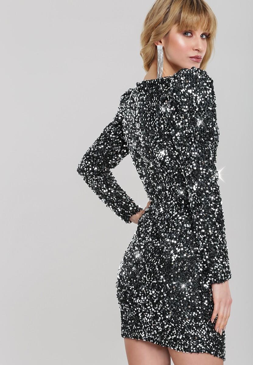 Czarno-Srebrna Sukienka Antonietta