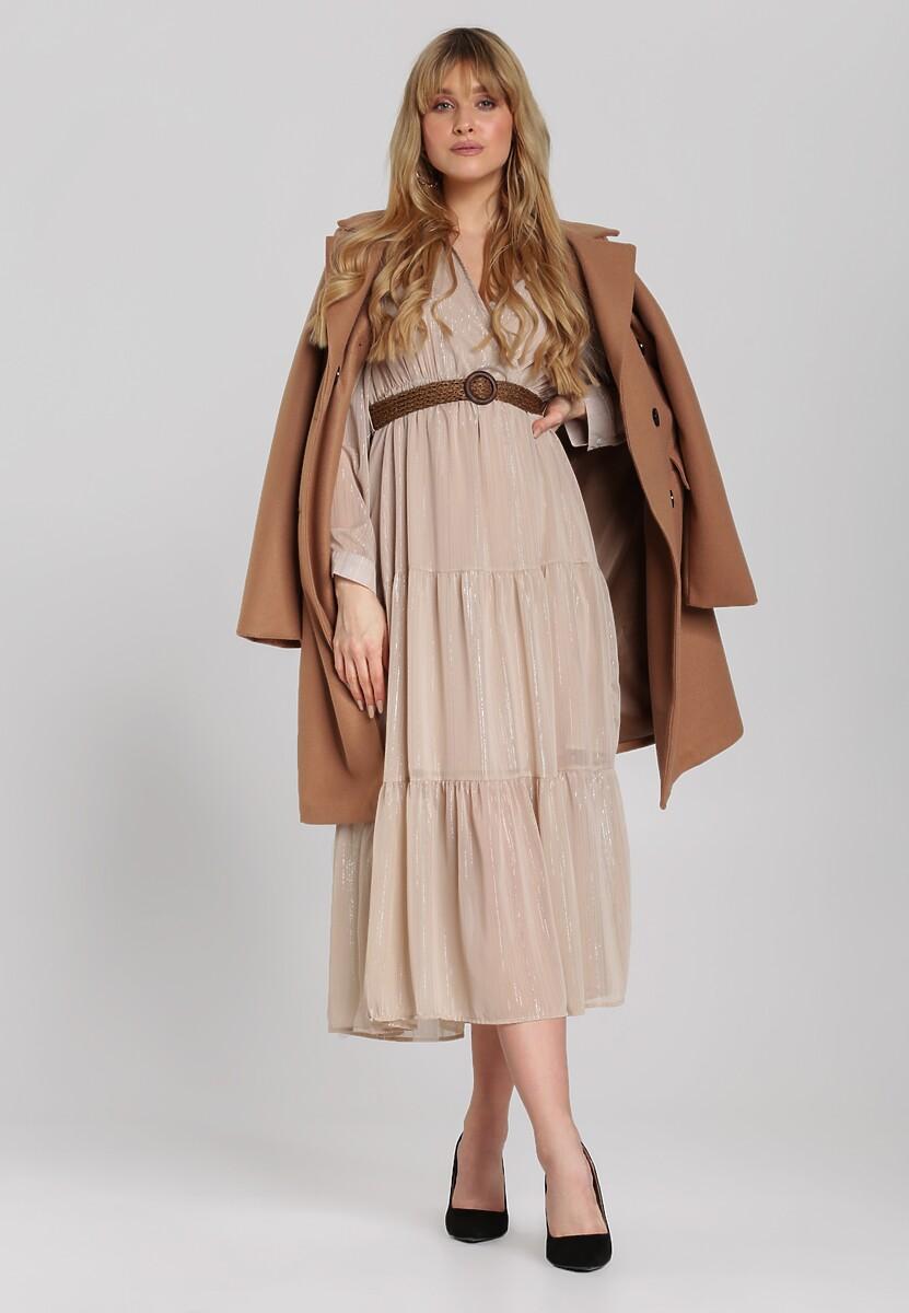 Jasnobeżowa Sukienka Driscoll