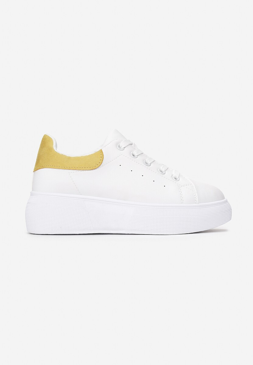 Biało-Żółte Sneakersy Amiee