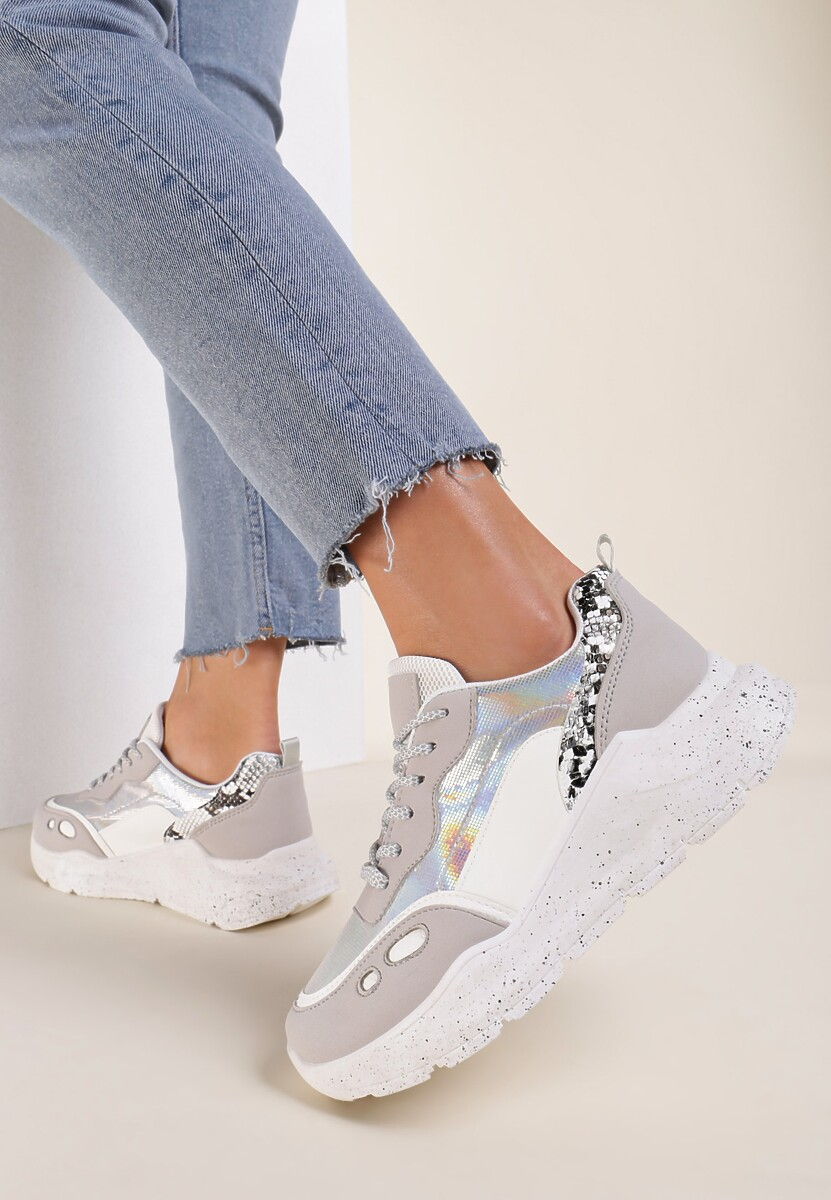 Srebrne Sneakersy Briony