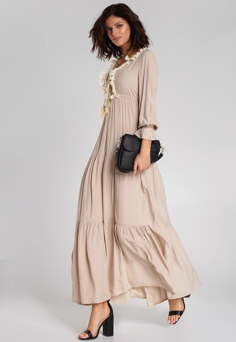 Jasnobeżowa Sukienka Vikki