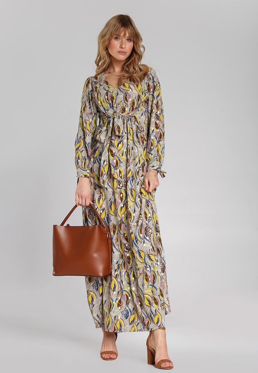 Beżowo-Brązowa Sukienka Middleton