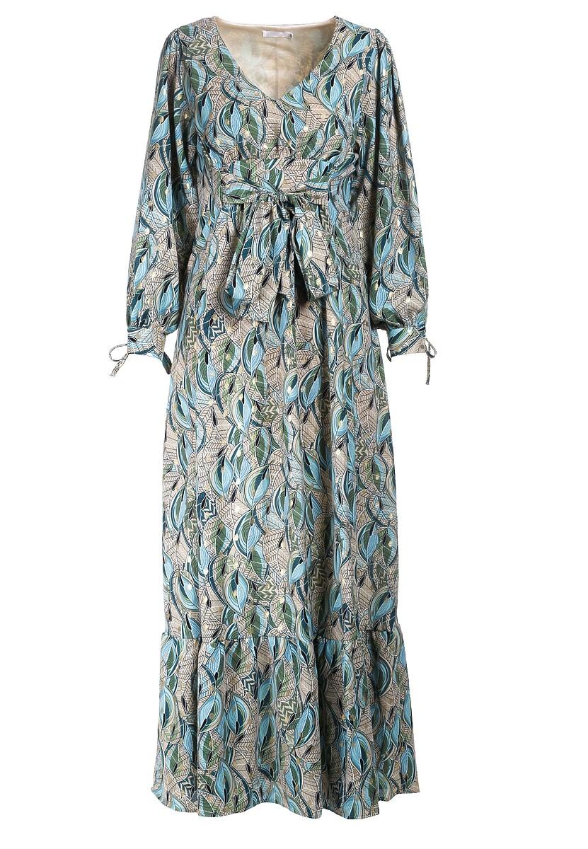 Beżowo-Niebieska Sukienka Middleton