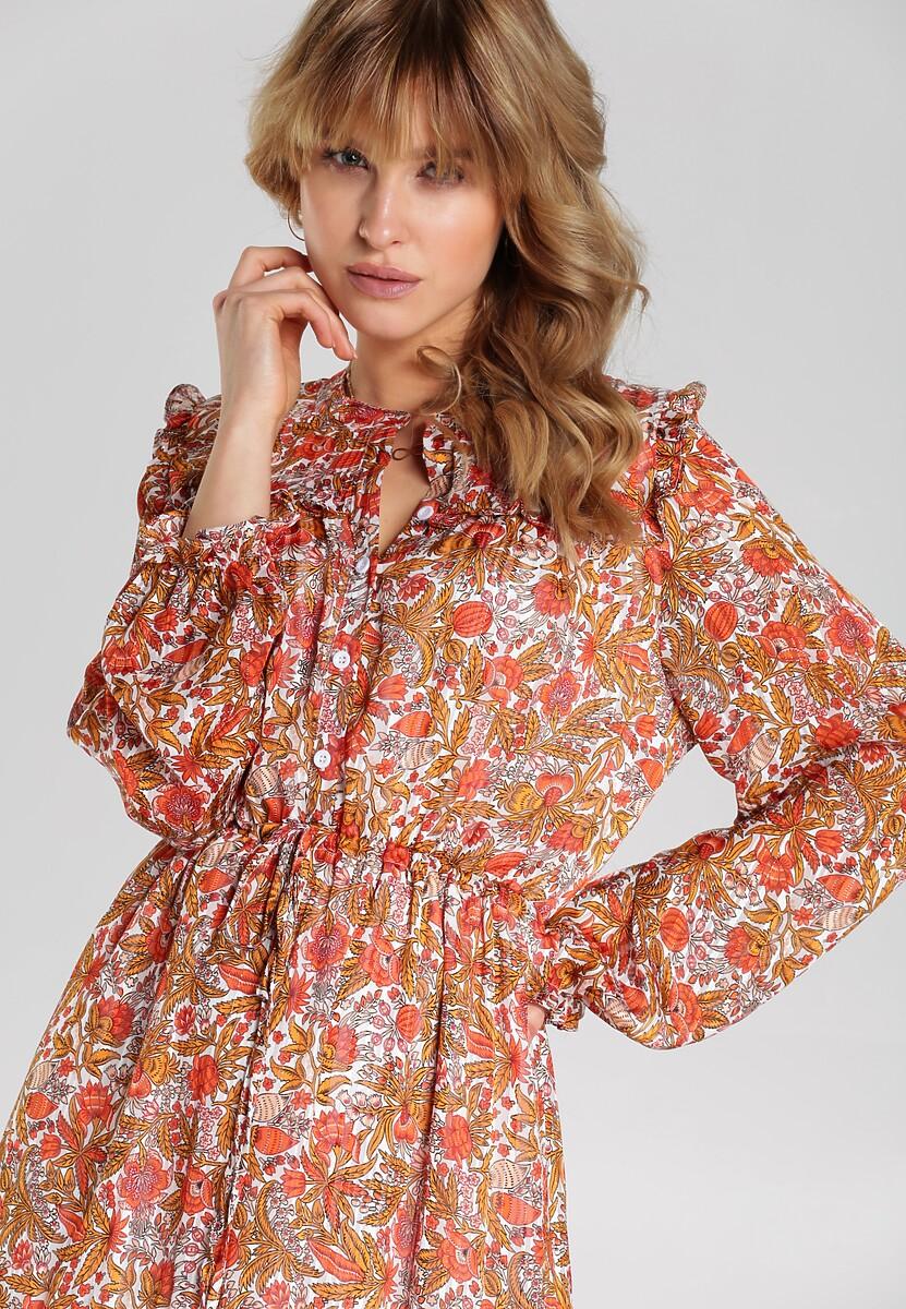 Biało-Pomarańczowa Sukienka Aanya