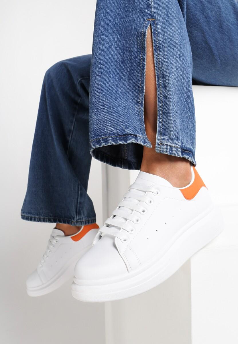 Biało-Pomarańczowe Sneakersy Brentisa