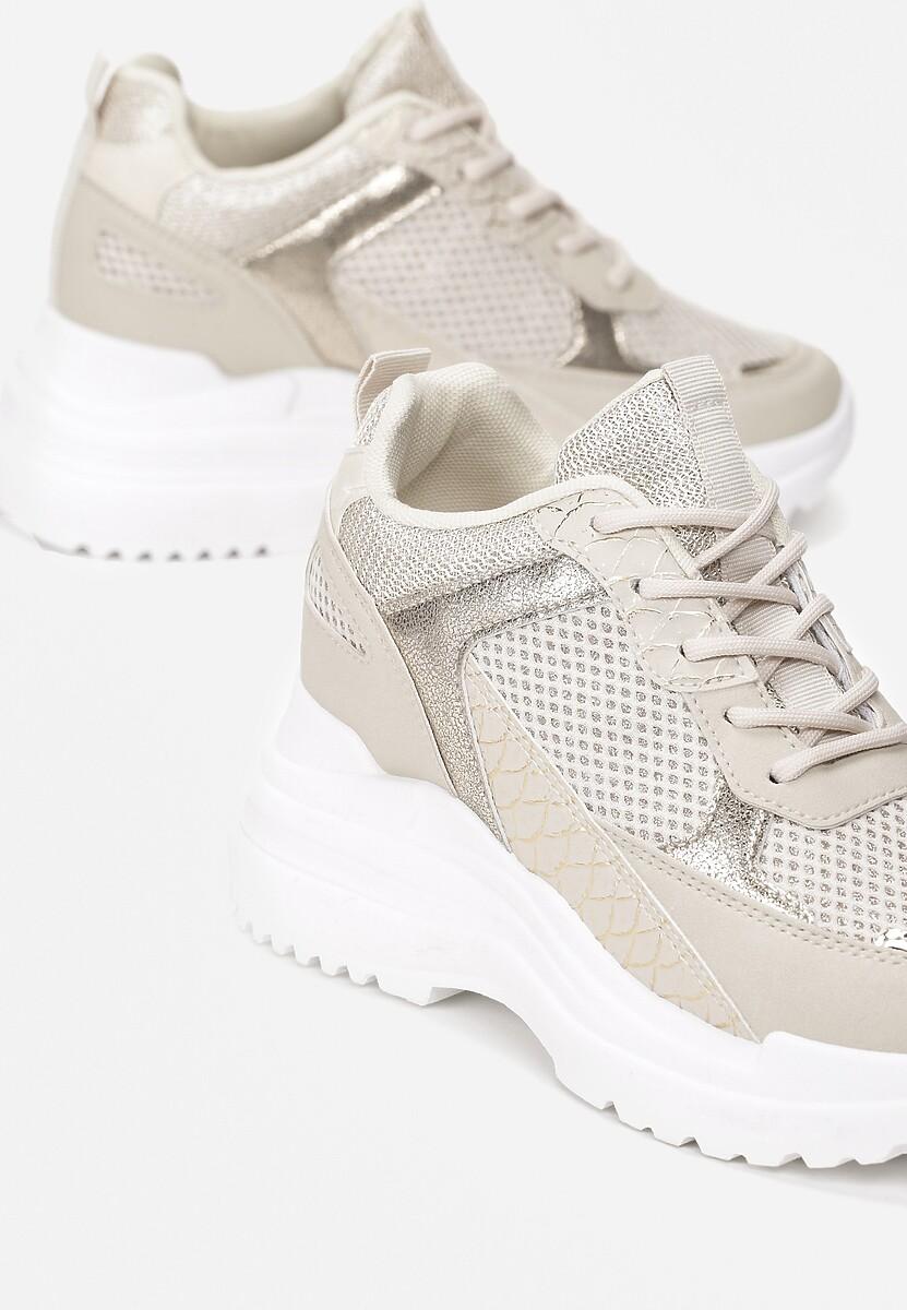 Beżowe Sneakersy Klyphotise