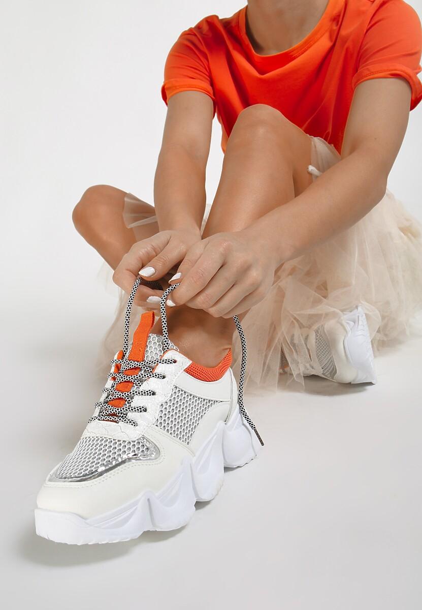 Biało-Pomarańczowe Sneakersy Dorialina