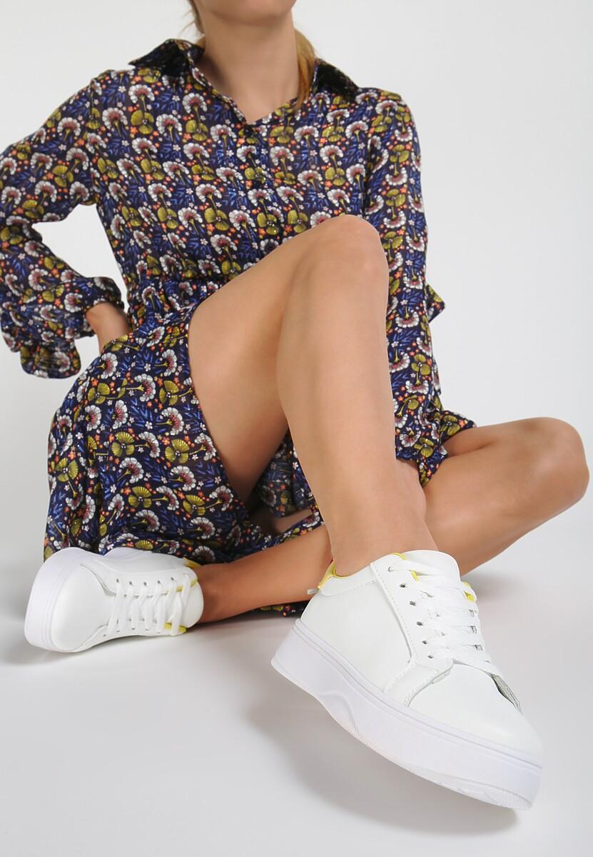 Biało-Żółte Sneakersy Heliteia
