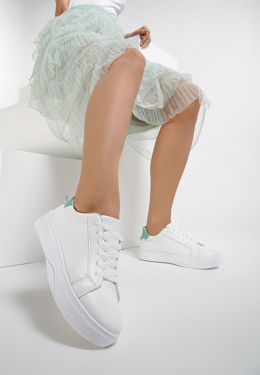 Biało-Miętowe Sneakersy Heliteia