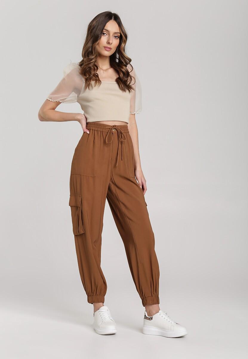 Ciemnobeżowe Spodnie Eunosise