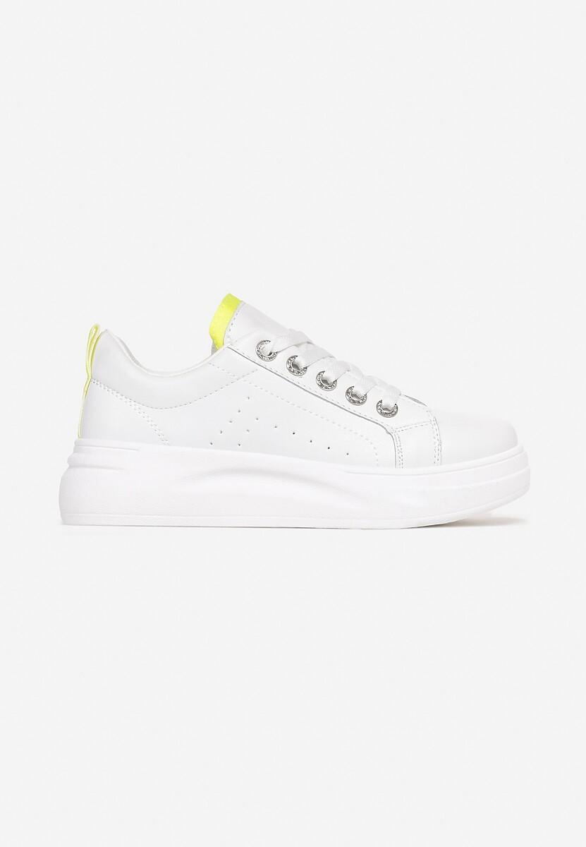 Biało-Limonkowe Sneakersy Elisise