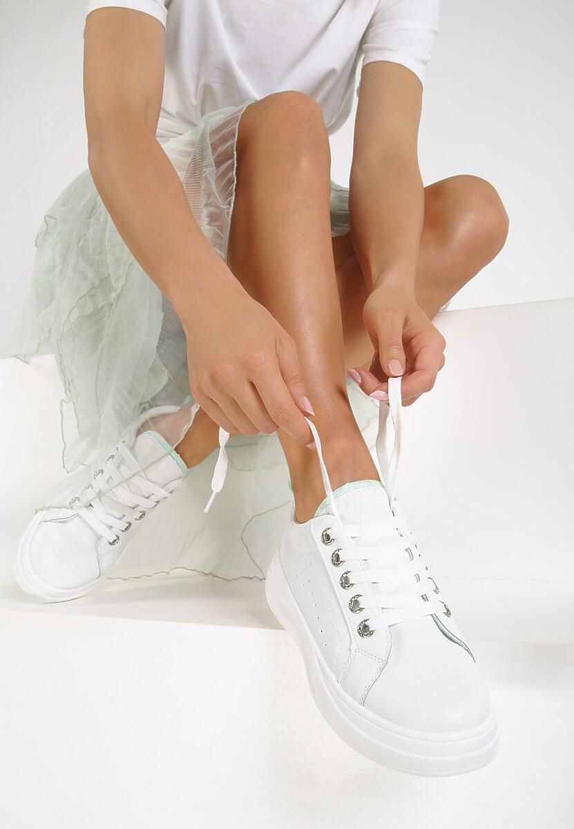 Biało-Miętowe Sneakersy Elisise