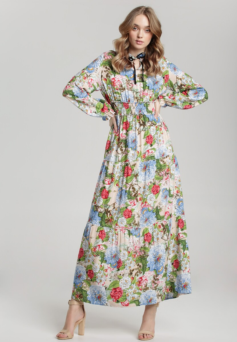 Beżowo-Niebieska Sukienka Leucothei