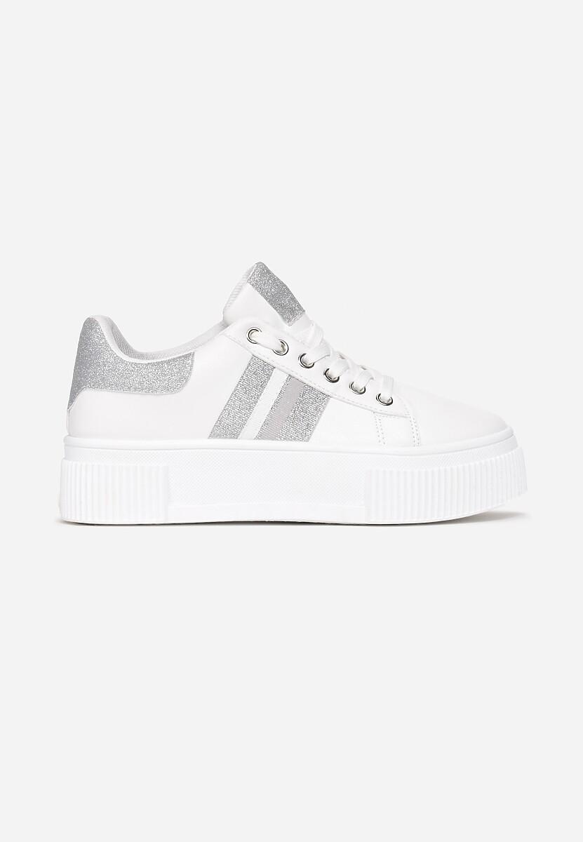 Biało-Srebrne Sneakersy Elashor