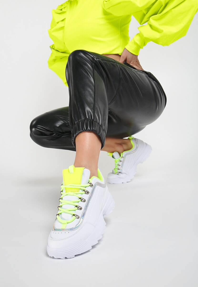 Biało-Limonkowe Sneakersy Ryland