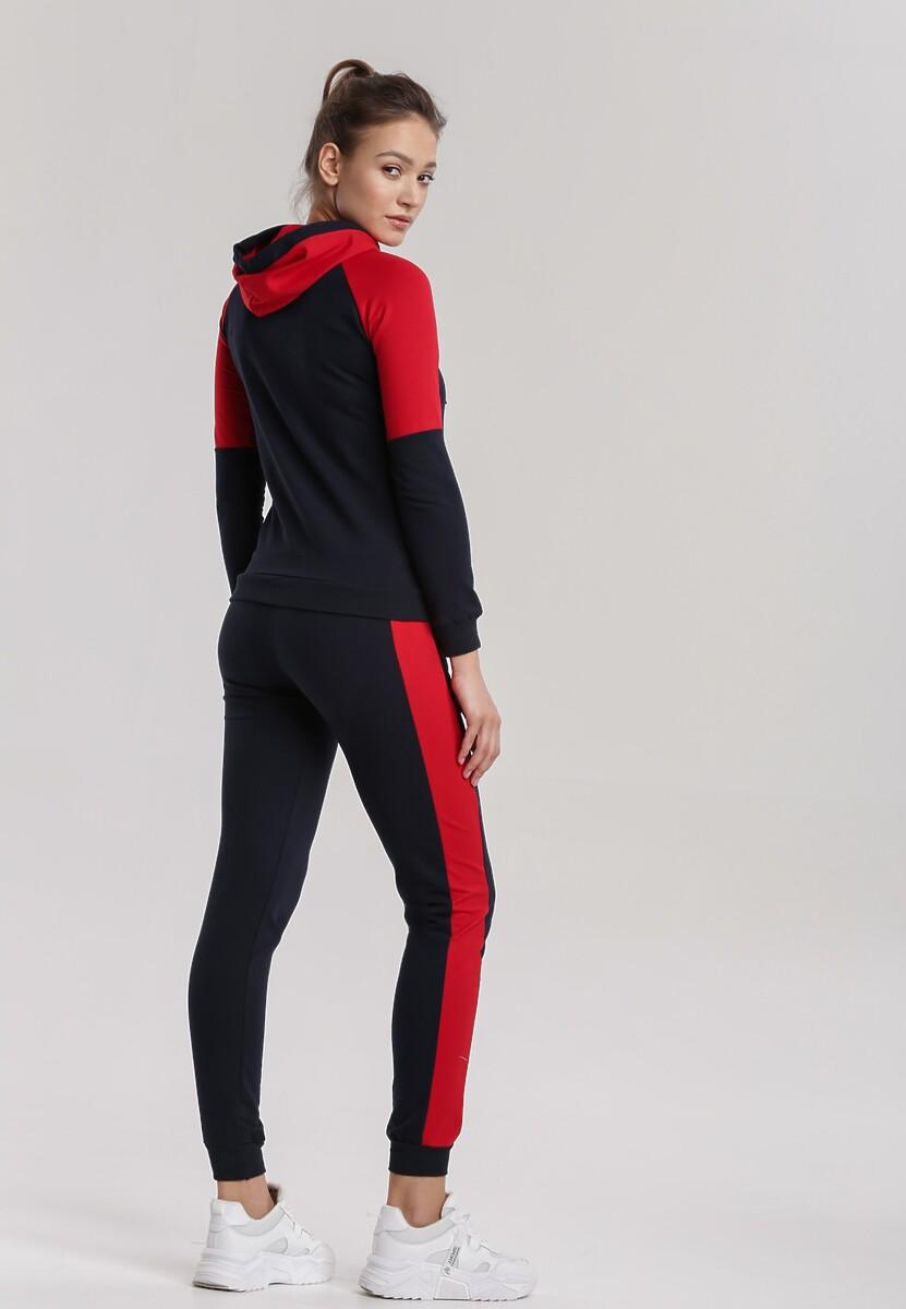 Granatowo-Czerwony Komplet Dresowy Aeleoliana