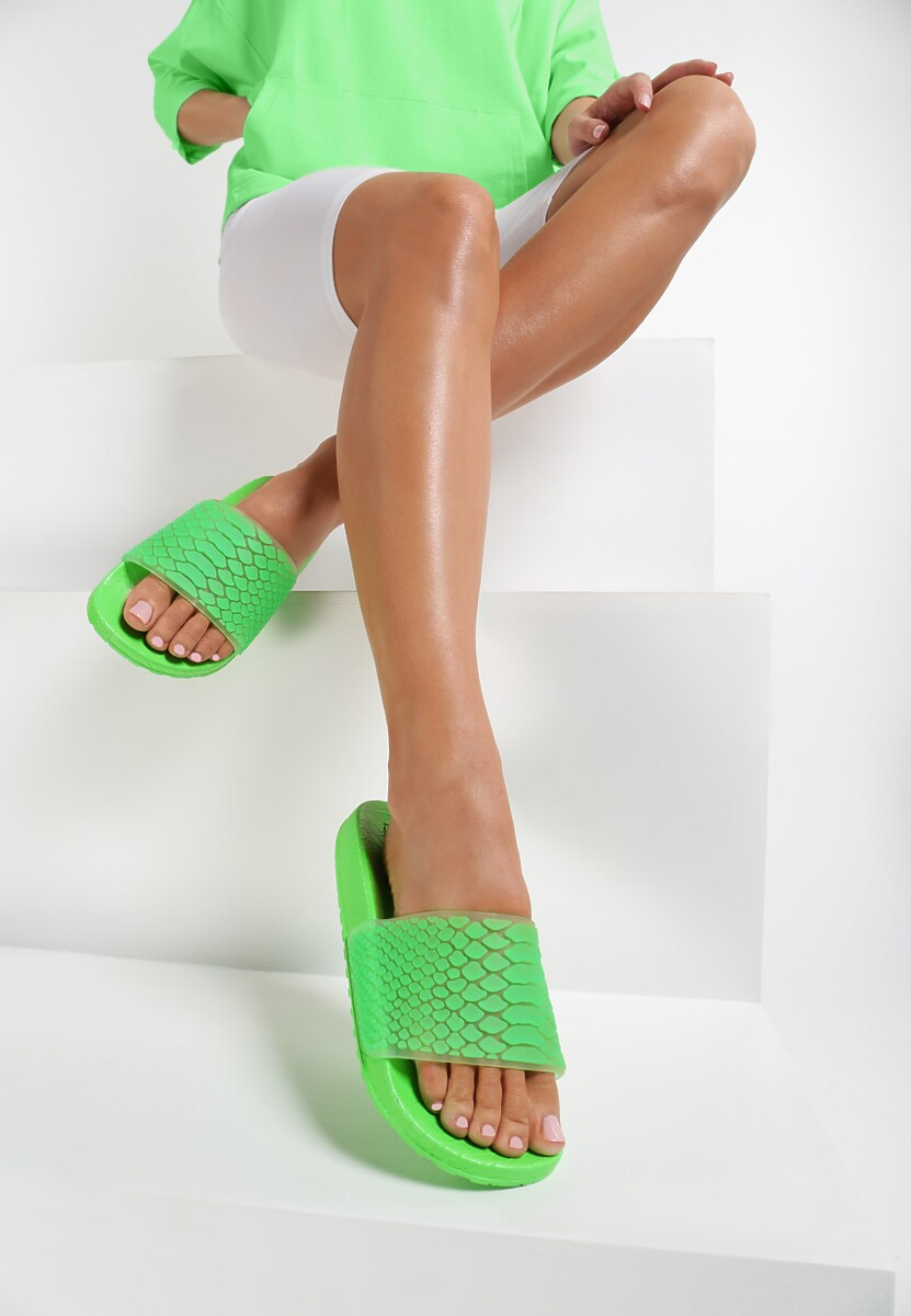 Zielone Neonowe Klapki Sereilla