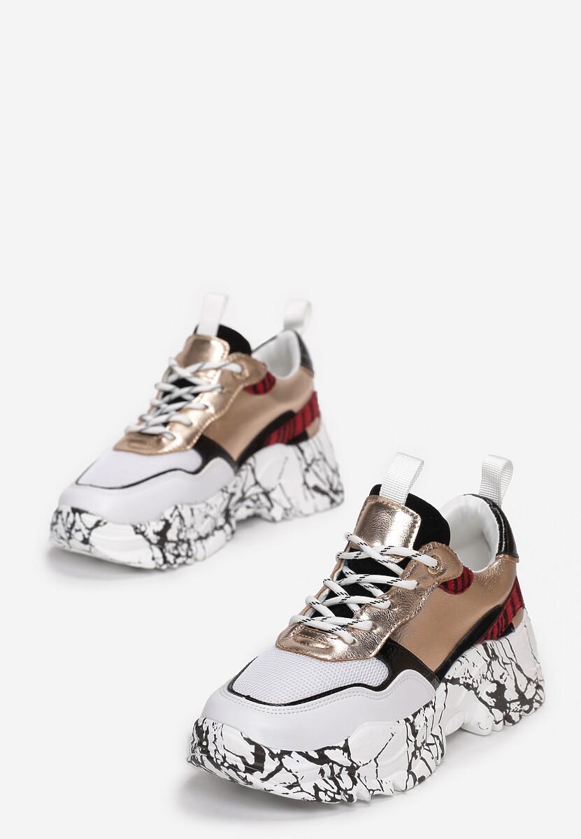 Biało-Złote Sneakersy Mellonelle