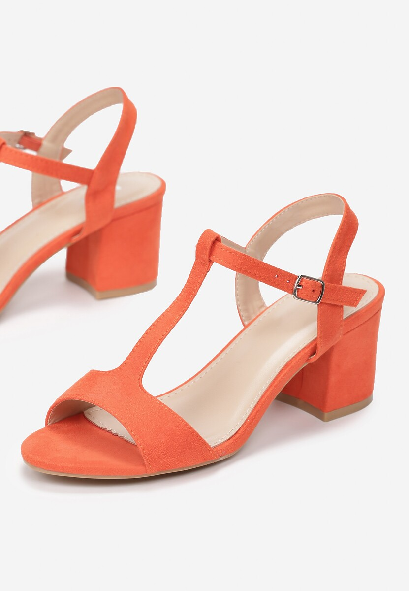 Pomarańczowe Sandały Shelea