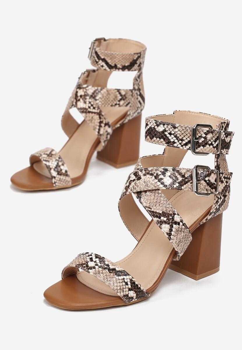 Camelowe Wężowe Sandały Muriesea