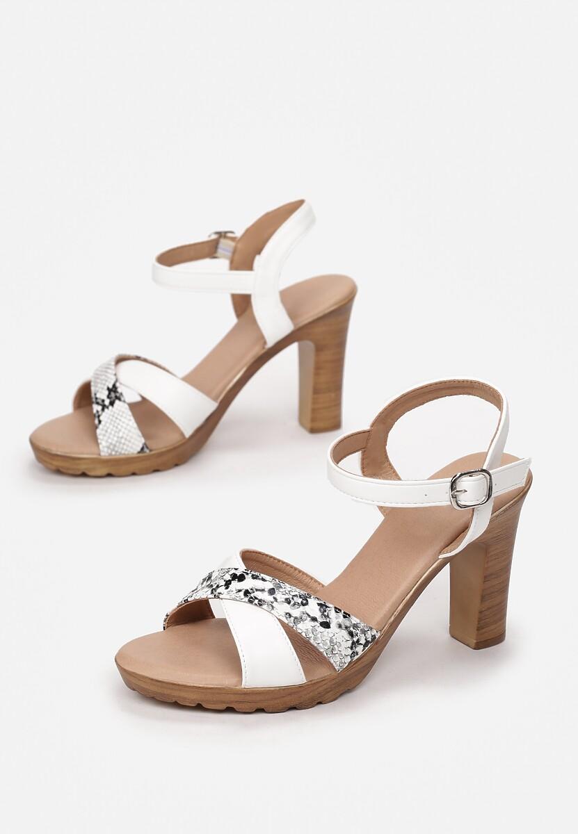 Białe Wężowe Sandały Sylinara