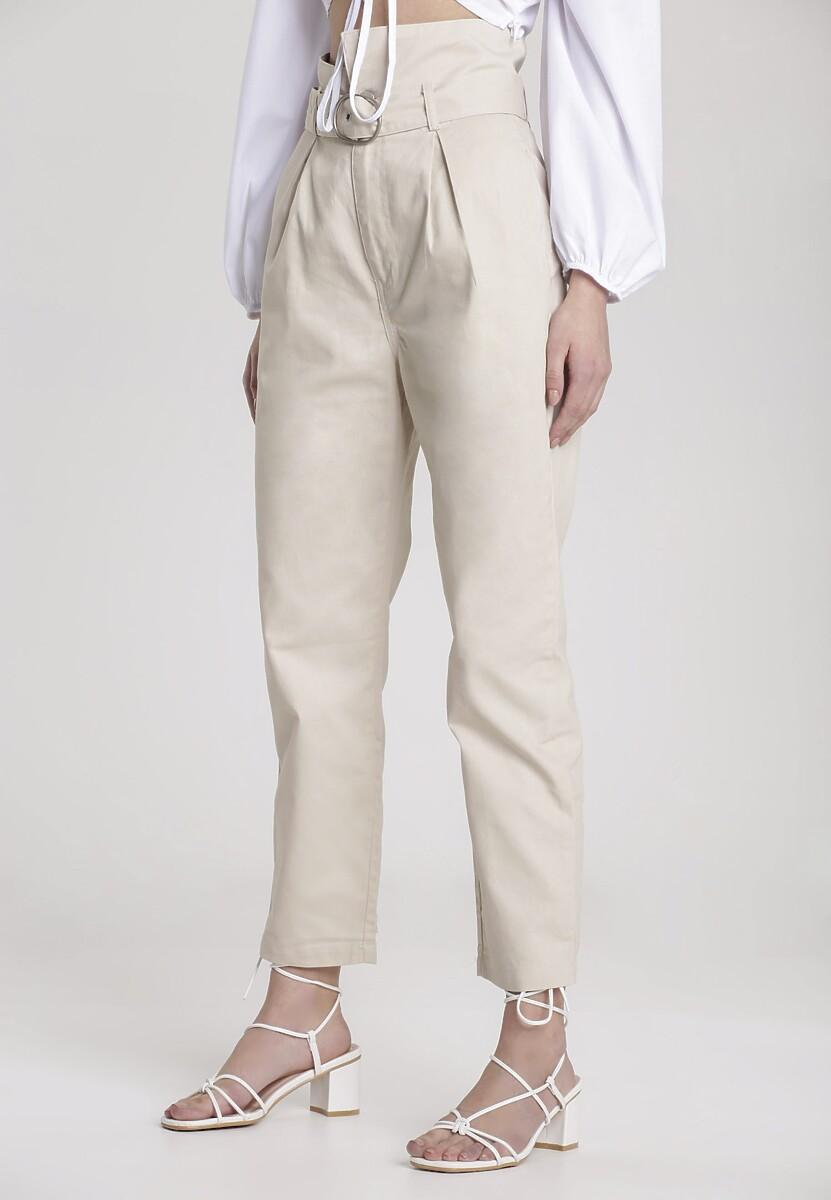 Beżowe Spodnie Paper Bag Jenielis