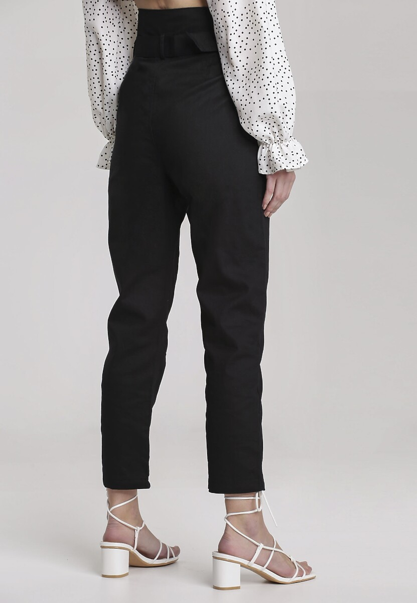 Czarne Spodnie Paper Bag Jenielis