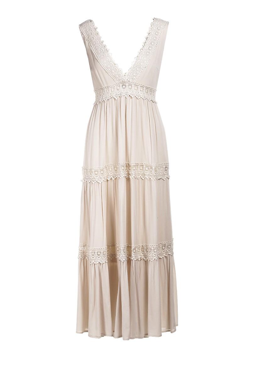 Jasnobeżowa Sukienka Lorevia