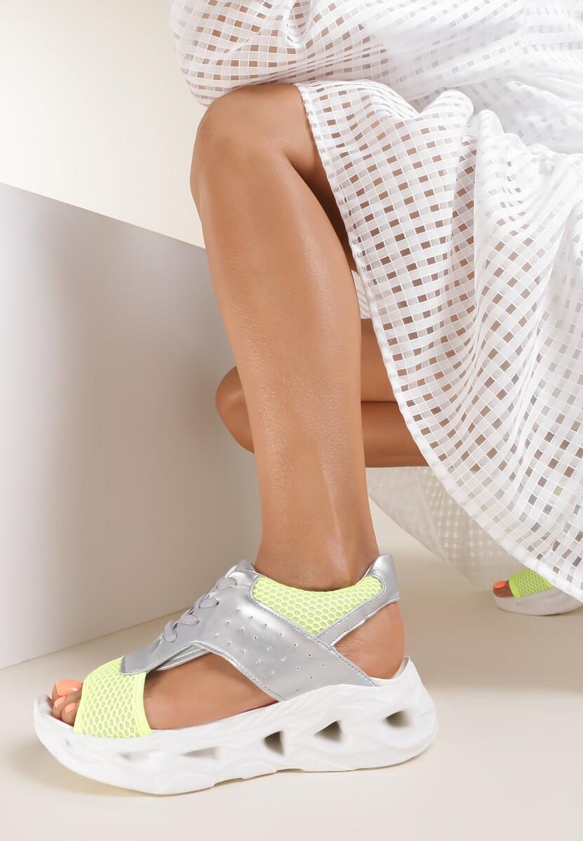 Srebrno-Limonkowe Sandały Thenore