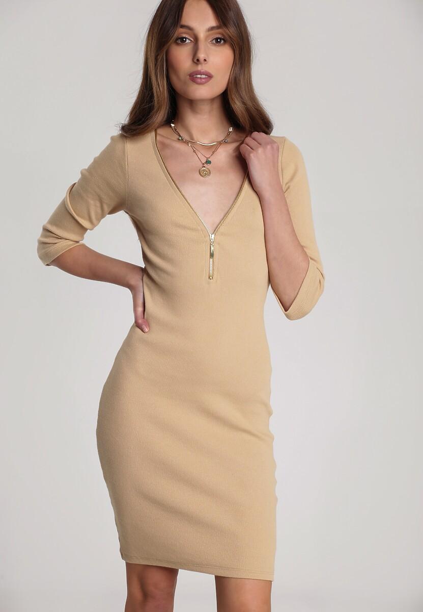 Jasnobeżowa Sukienka Antaris
