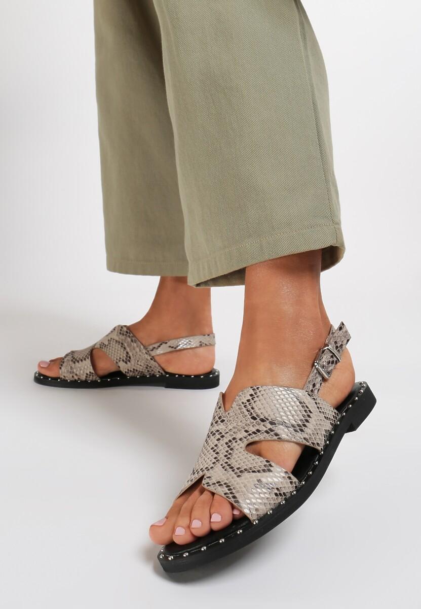 Beżowe Wężowe Sandały Vakala