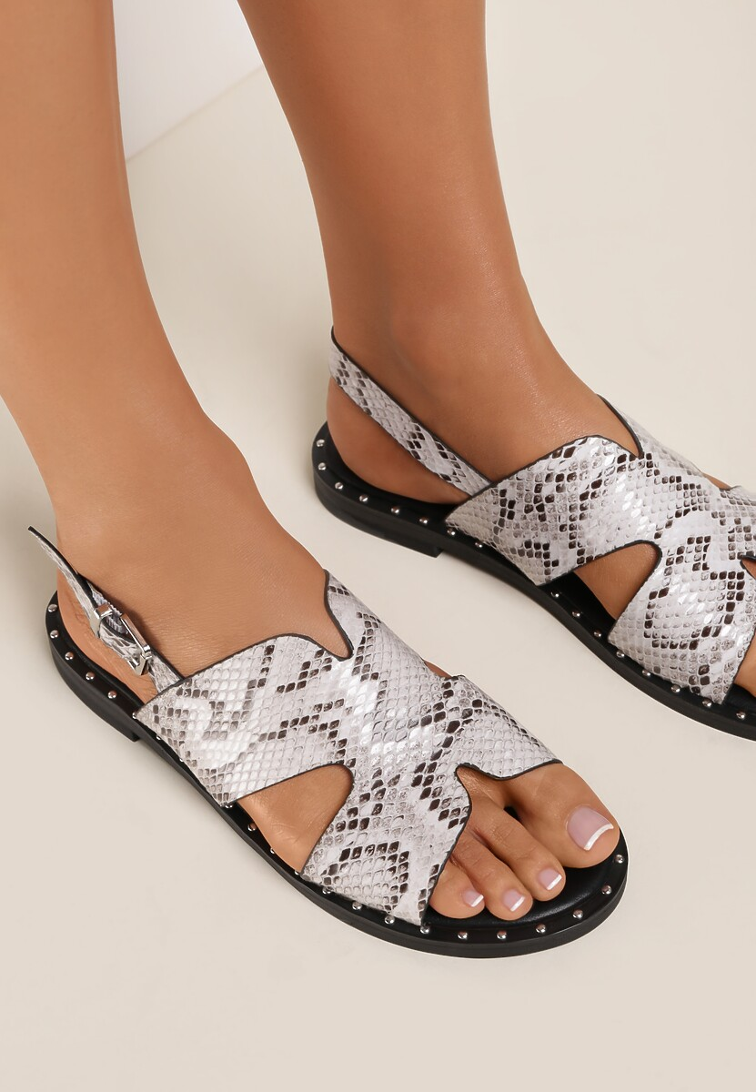 Białe Wężowe Sandały Vakala