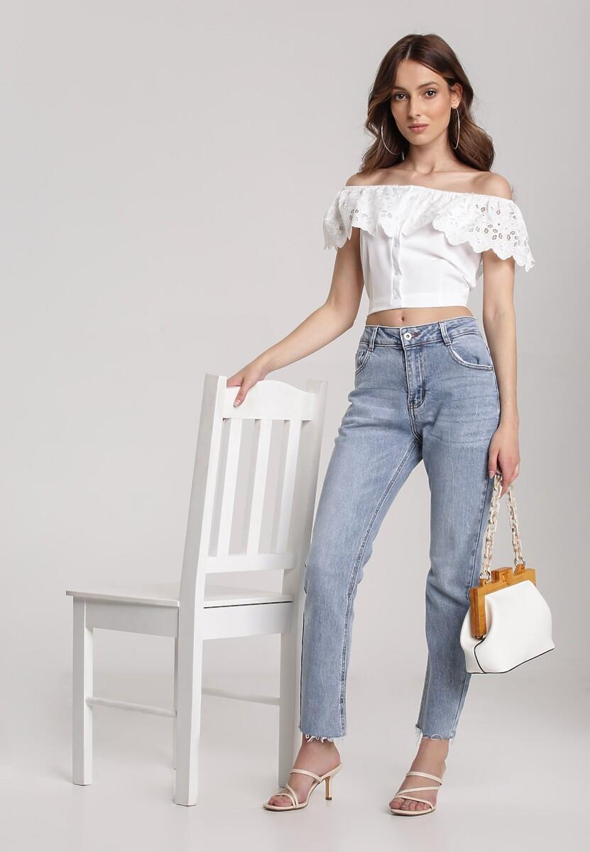 Niebieskie Jeansy Straight Leg Pallegale