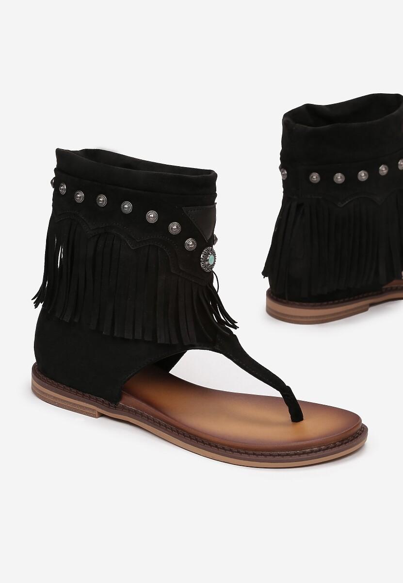 Czarne Sandały Adrethia
