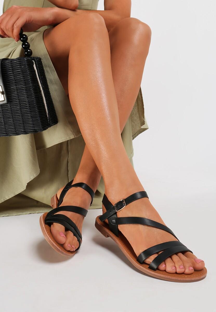 Czarne Sandały Aegalia