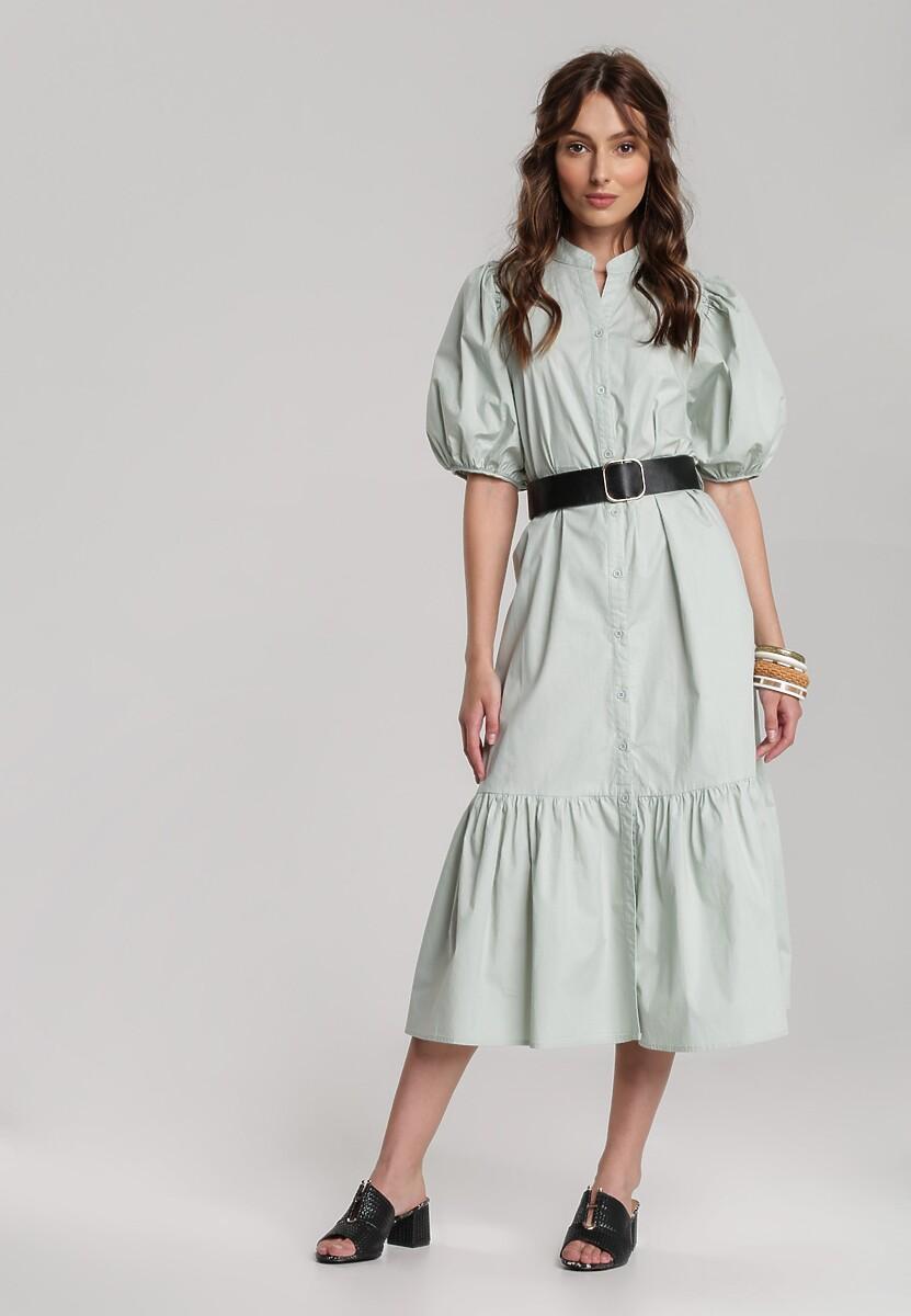 Miętowa Sukienka Naunelle
