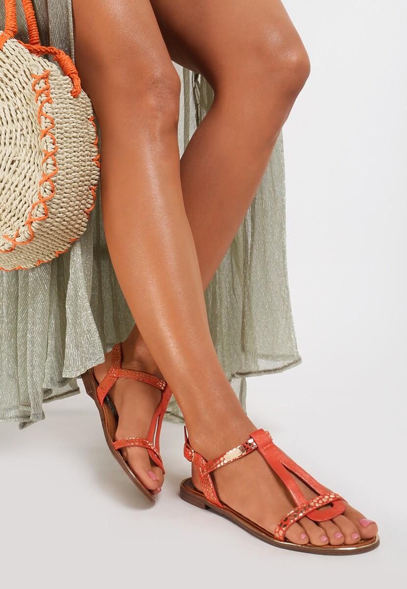 Pomarańczowe Sandały Metipea