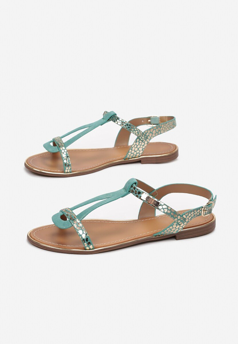 Miętowe Sandały Metipea