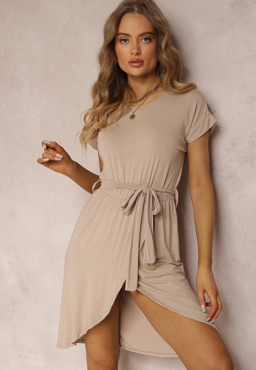 Jasnobeżowa Sukienka Veridiana