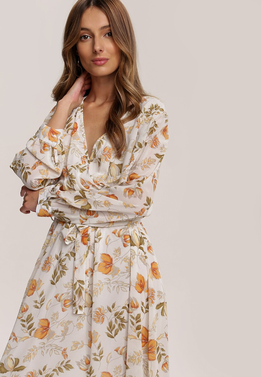 Biało-Pomarańczowa Sukienka Guinerinias