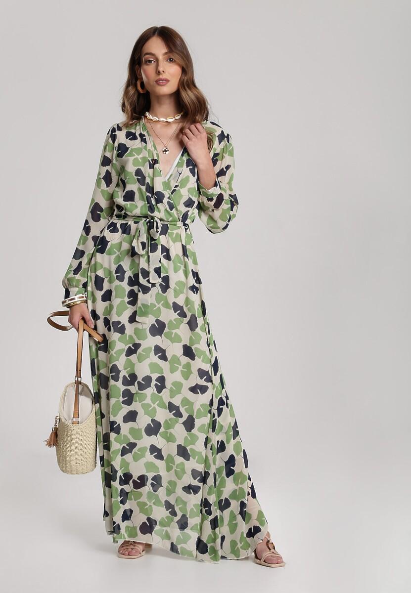 Zielono-Kremowa Sukienka Guinerinias