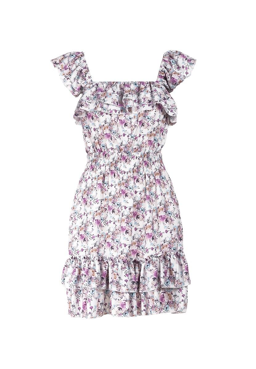 Biało-Fioletowa Sukienka Doriavere