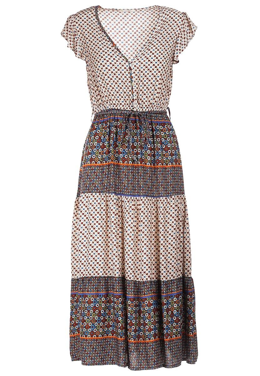 Beżowo-Niebieska Sukienka Vivirinia