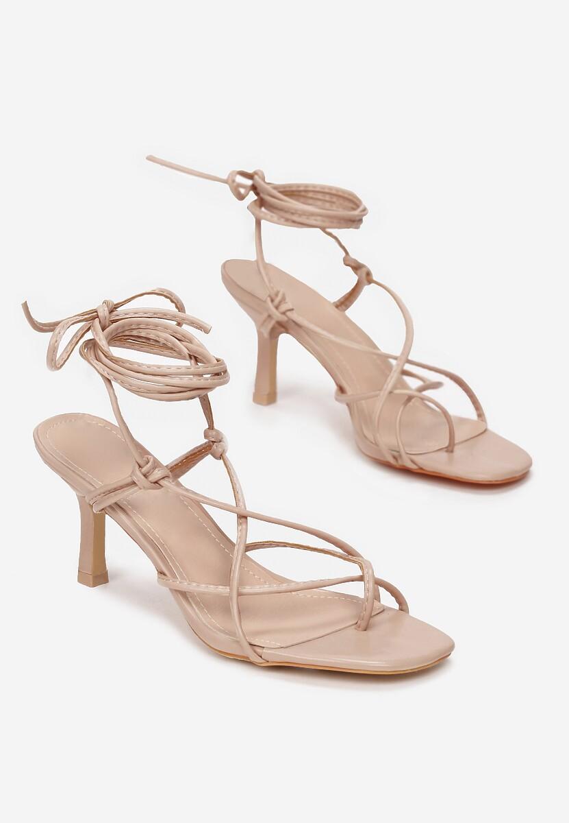 Ciemnobeżowe Sandały Zelimeni